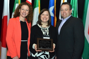 Stephanie Foote (center) receives the 2015 recipient of the Excellence in Teaching First-Year Seminars award