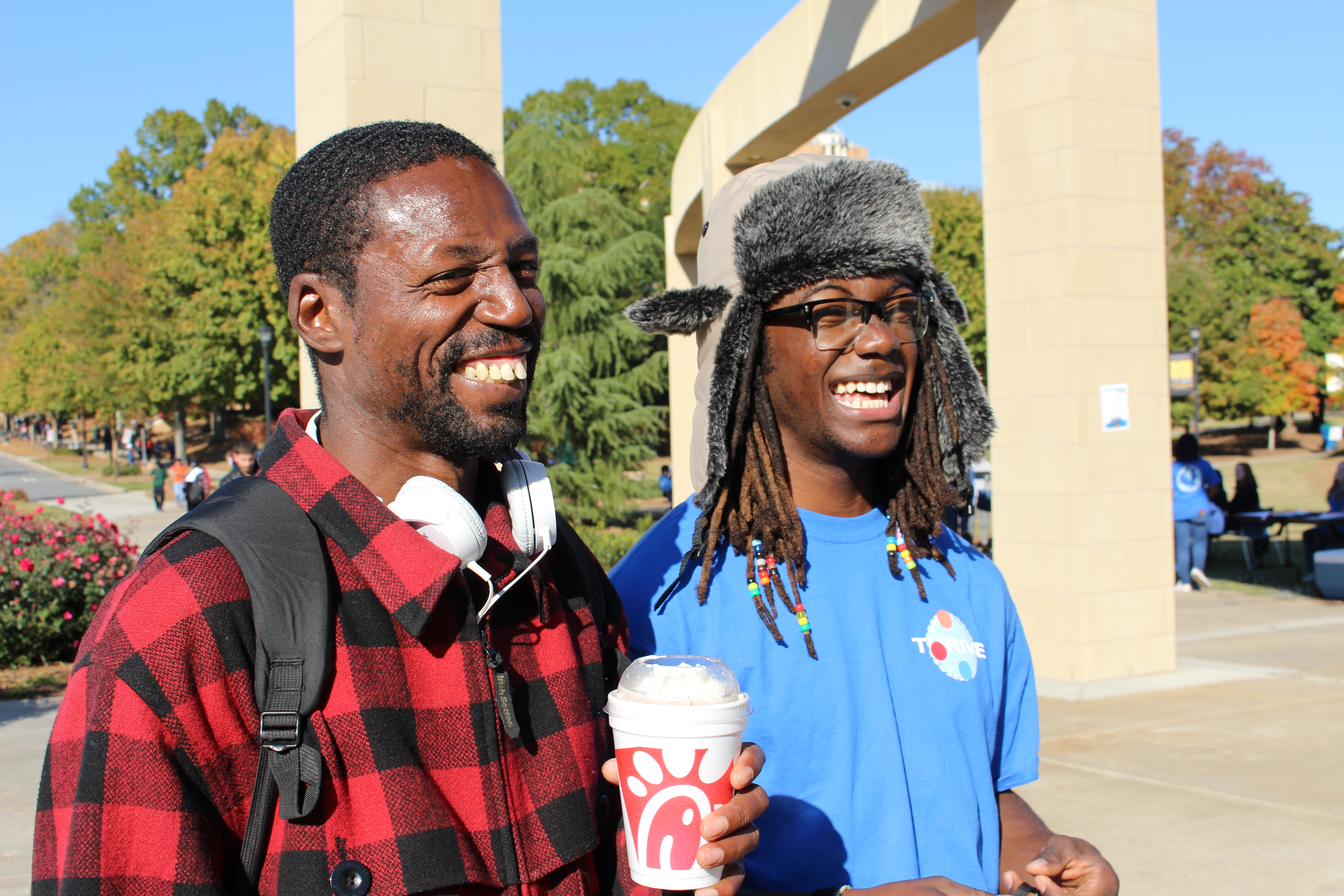 New friends Sam Robinson (left) and Broderick Armbrister (photo by Laila Smith)