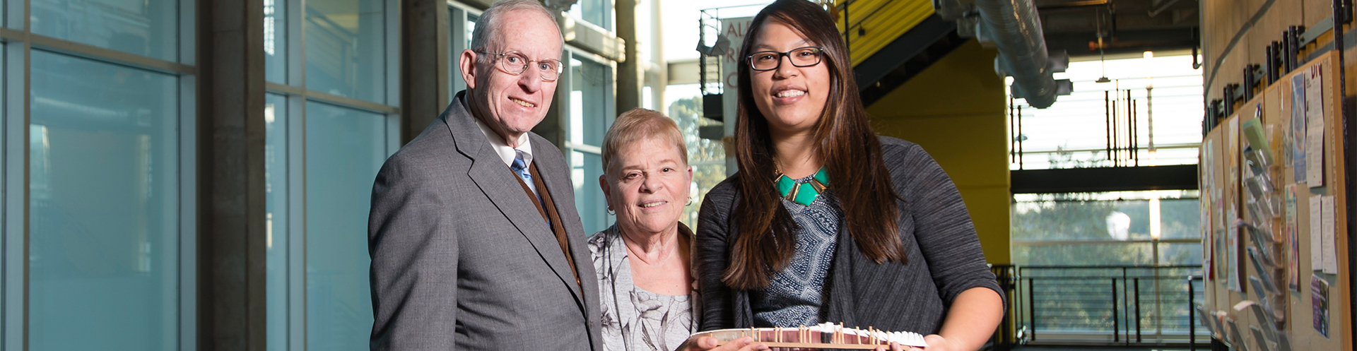Donors Sally and Charles Goldgeier help ease the financial burden for student Laura Sherman