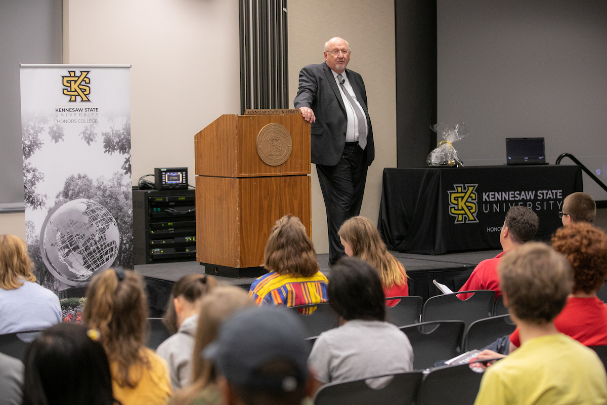 KSU alum Charles Castro gives a lecture about his book, Station Blackout, in the student center university rooms on the Kennesaw campus at Kennesaw State University
