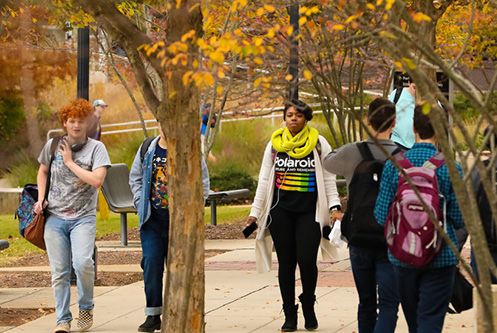 Students on campus, fall 2019