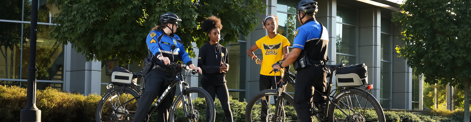 KSU PD bicycle officers and students